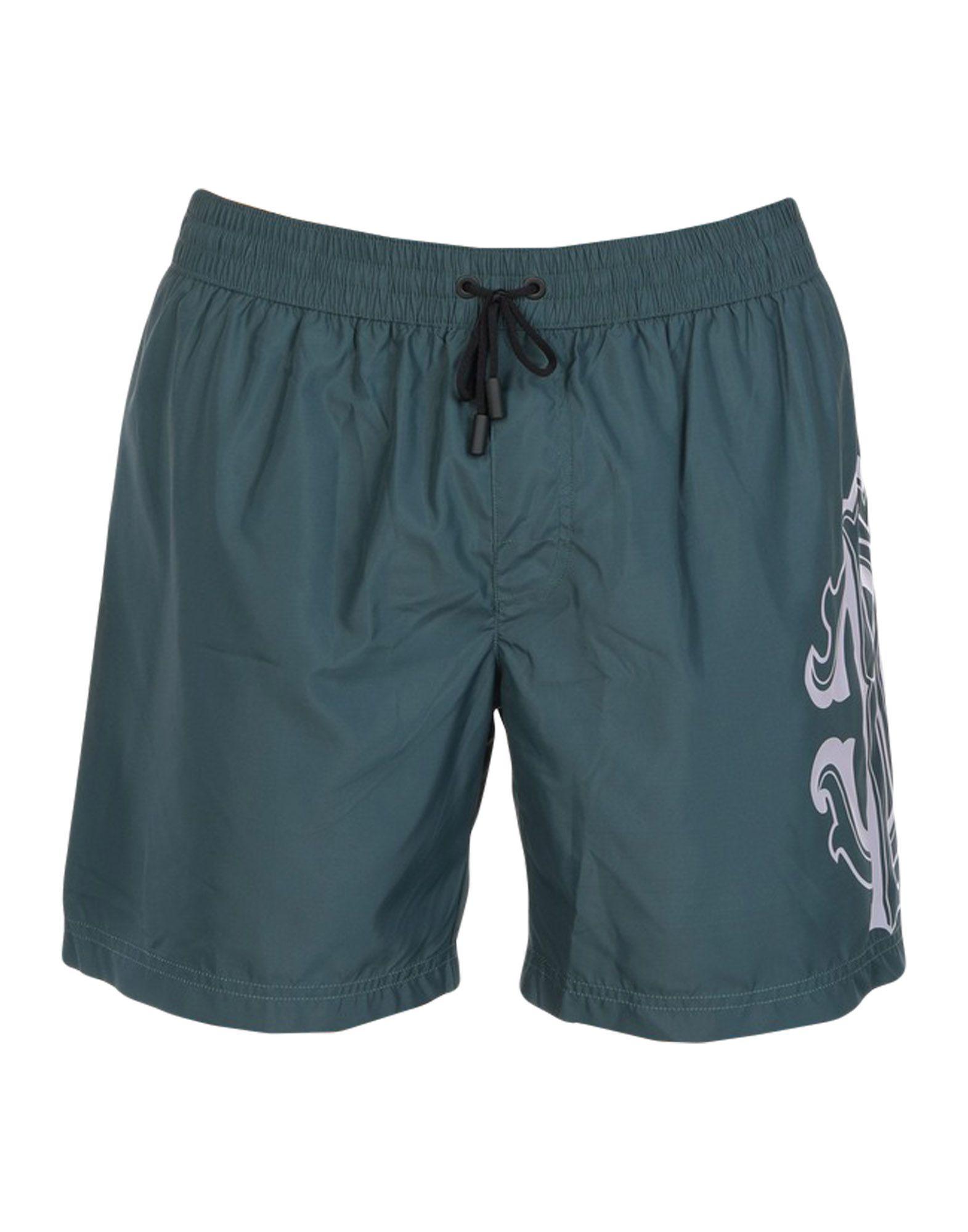Roberto Cavalli Beachwear Swim Shorts In Dark Green