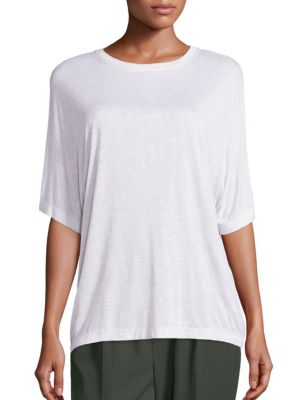 Vince Short Sleeve Dolman T-shirt In Heather White