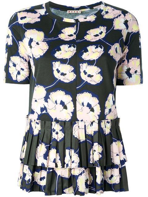Marni Poplin-trimmed Floral-print Cotton-jersey Top In Dark Olive