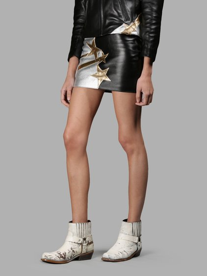 Faith Connexion Star Patch Smooth Leather Mini Skirt In Black