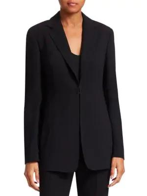 Akris Notch Lapel Wool Blazer In Black