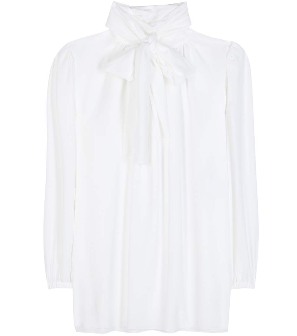 Dolce & Gabbana Pussy-bow Silk Crepe De Chine Blouse In Lright White