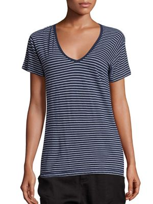 Vince Striped Cotton T-shirt In Heather Coastal White