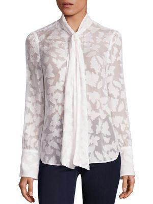 Michael Michael Kors Tie Neck Floral Jacquard Blouse (regular & Petite) In Ecru