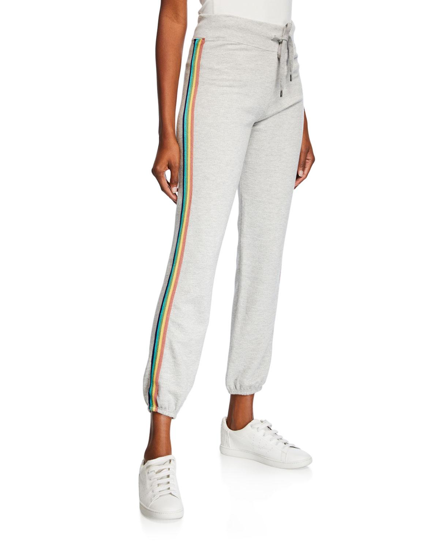 00061d8a95 Rainbow-Trim Drawstring Sweatpants in Gray