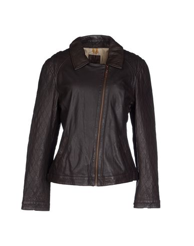 Timberland Leather Jacket In Dark Brown