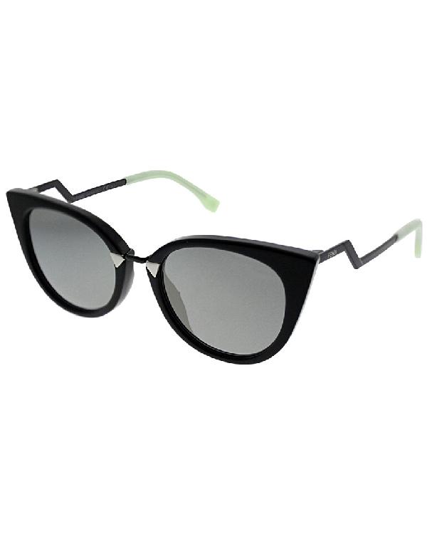 Fendi Zig-zag Arm 52mm Cat Eye Sunglasses In Nocolor