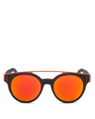 73523b9d7528 Givenchy Rave Collection Round Sunglasses With Brow Bar, 50Mm In Black Red/Orange  Mirror