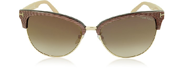 33bccce5bd97 Tom Ford Fany Ft0368 50G Brown Acetate And Gold Metal Cat Eye Sunglasses In  Iridescent Brown
