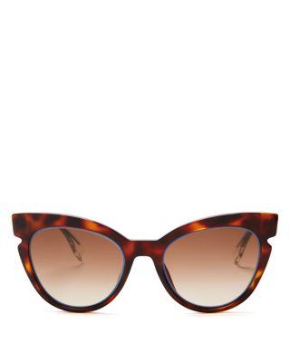 Fendi Cut Out Cat Eye Sunglasses, 51mm In Havana Crystal Blue/brown Gradient