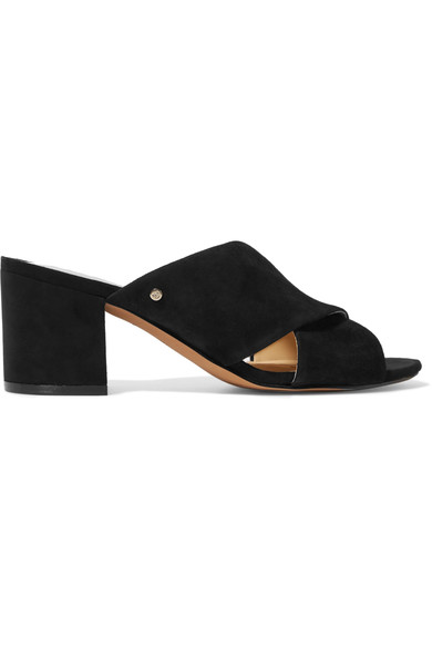 Sam Edelman Stanley Crisscross Mid Heel Slide Sandals In Black