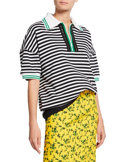 N°21 Striped Short-Sleeve Oversized Cotton Sweatshirt In Black/White