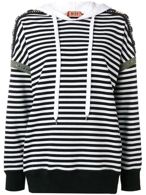 N°21 Cotton Stripe Drawstring Hoodie W/ Embellishments In White