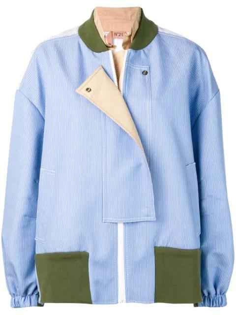 N°21 Asymmetric Oversized Striped Sport Jacket In Blue