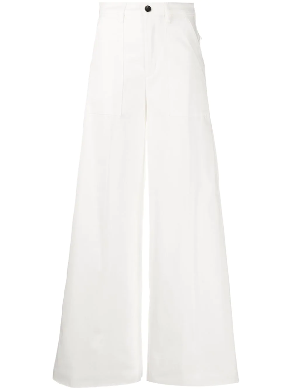 Department 5 Stretch Cotton Palazzo Trousers In White