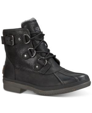 Ugg 'cecile' Waterproof Boot (women) In Black Leather