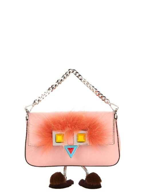 4379a40ec9 Fendi Micro Baguette Fur-Trimmed Leather Shoulder Bag In Pink Multi ...