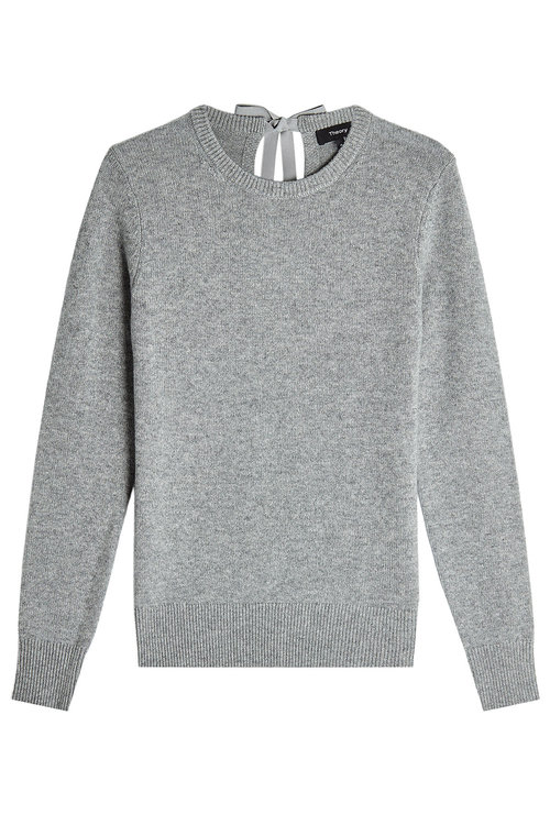 Theory Cashmere Pullover With Self-Tie Bow In Grey