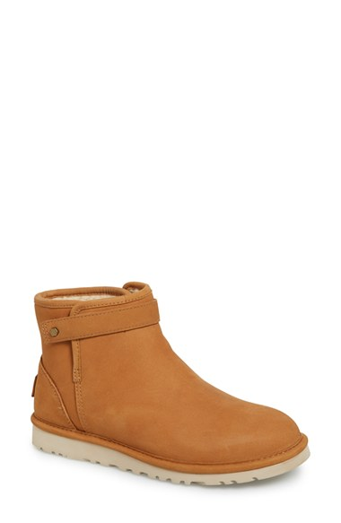 Ugg 'rella' Leather Ankle Boot (women) In Chestnut Leather
