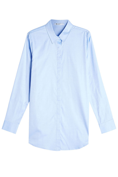 T By Alexander Wang Oversized Cotton Shirt In Blue