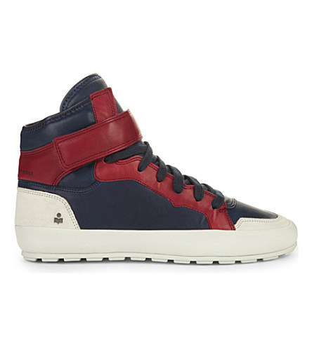Isabel Marant Bessy Leather High-Top Trainers In Navy