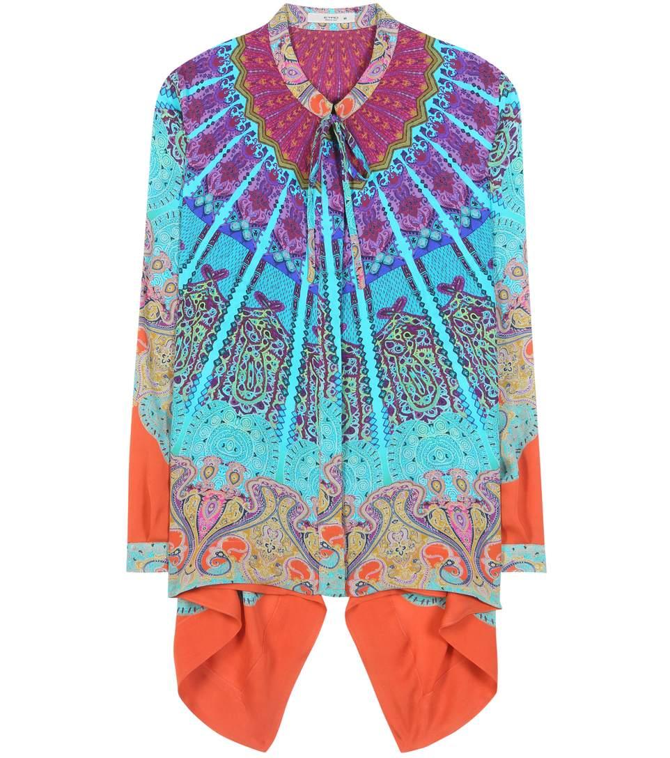 Etro Asymmetric Printed Silk Blouse In Multicolored