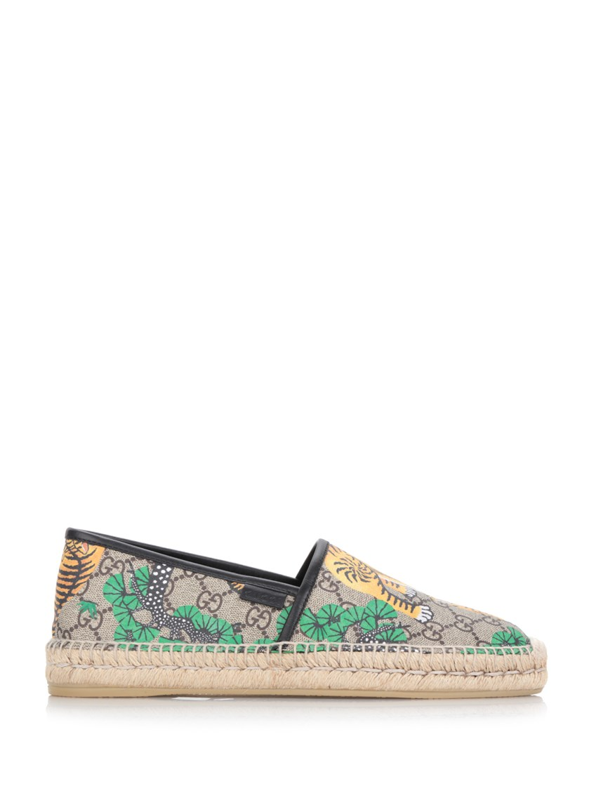 deffce54323 Gucci Leather-Trimmed Printed Coated-Canvas Espadrilles In Brown ...