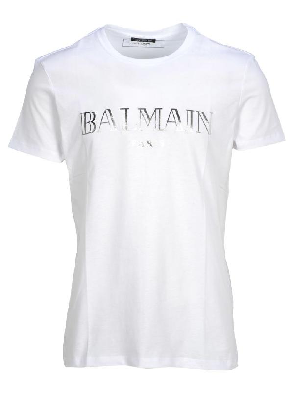 54b688e15aeaff Balmain Logo Printed T-Shirt In White + Silver Print | ModeSens
