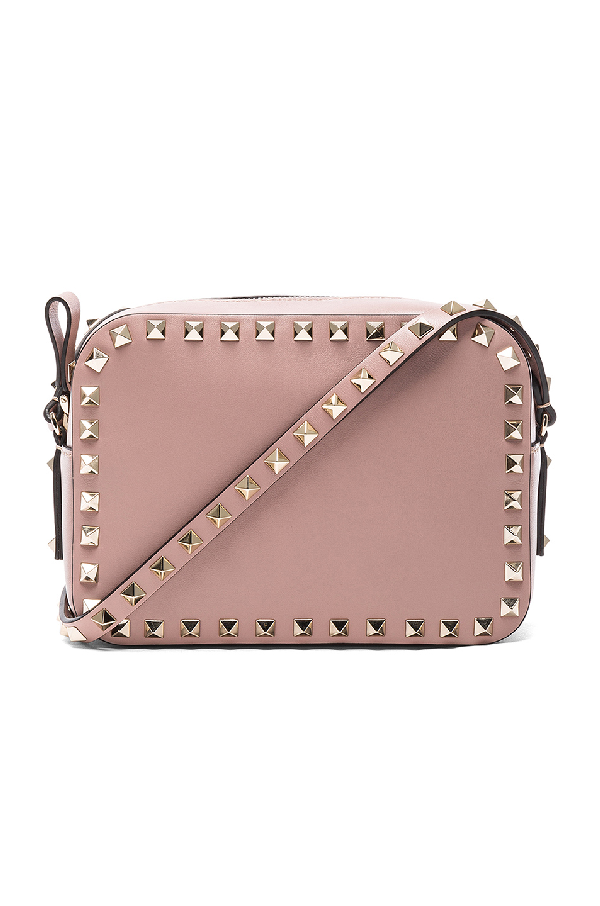 Valentino Rockstud Camera Leather Cross-body Bag In Neutrals