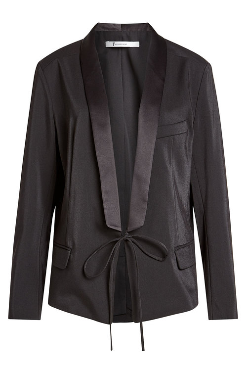 T By Alexander Wang Satin Jacket With Self-tie Front In Black