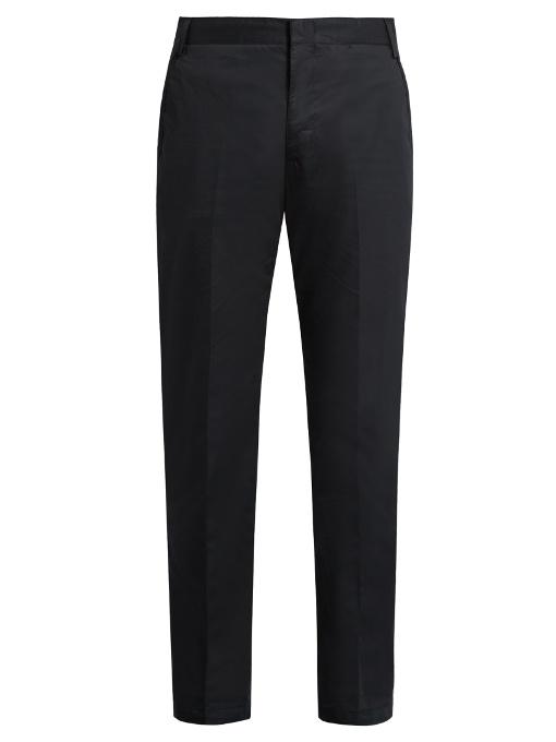 Lanvin Slim-leg Cotton Chino Trousers In Navy