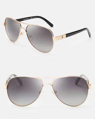 Tory Burch Women's Polarized Aviator Sunglasses, 57mm In Gold/black