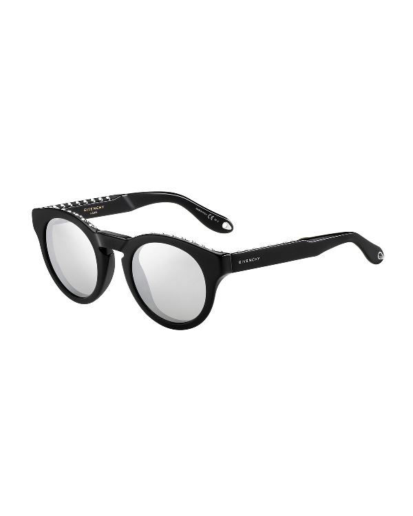 Givenchy Studded Rounded Square Sunglasses, Black/silver
