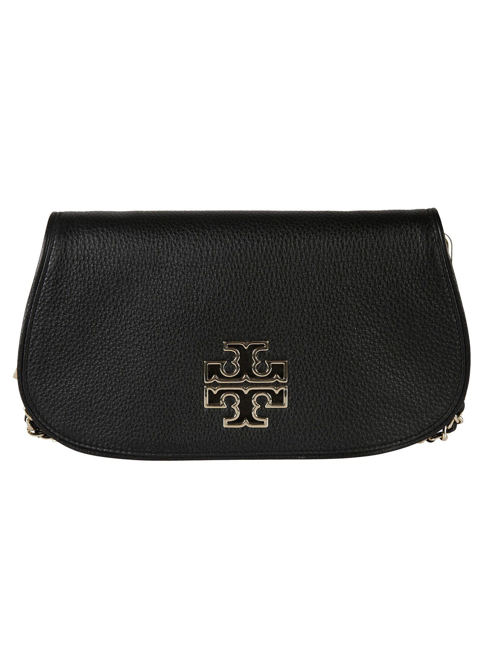 Tory Burch 'britten' Convertible Clutch In Black