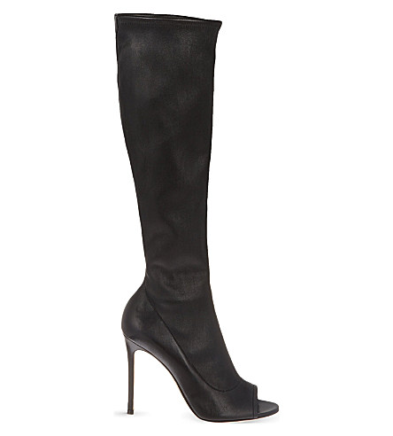 Gianvito Rossi Bodmin Peep Toe Knee High Boots In Black
