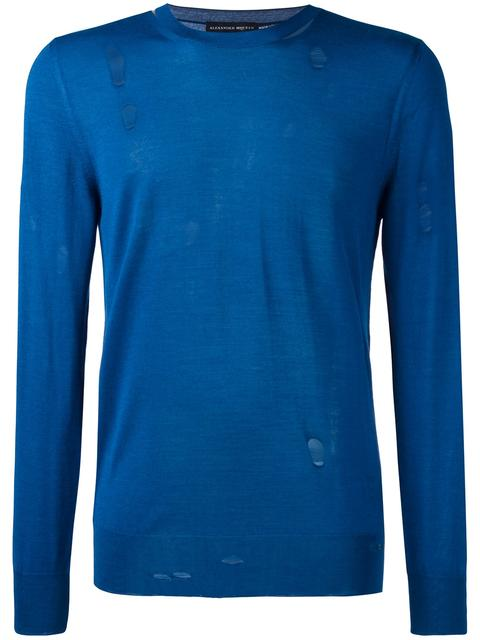 Alexander Mcqueen Distressed Wool And Silk-Blend Sweater In Blue