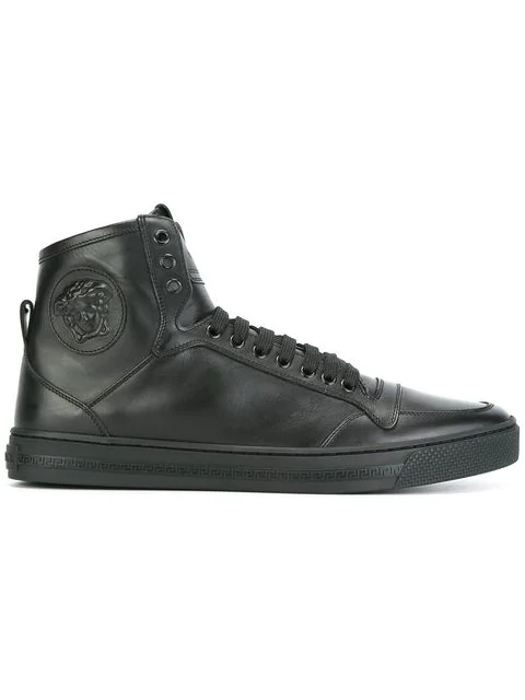 1ffd9a96c3 Versace Medusa Smooth Leather High Top Sneakers In Black   ModeSens