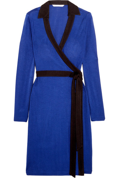 Diane Von Furstenberg Woman Jeannae Two-tone Stretch-knit Wrap Dress Cobalt Blue In Azurite Llue