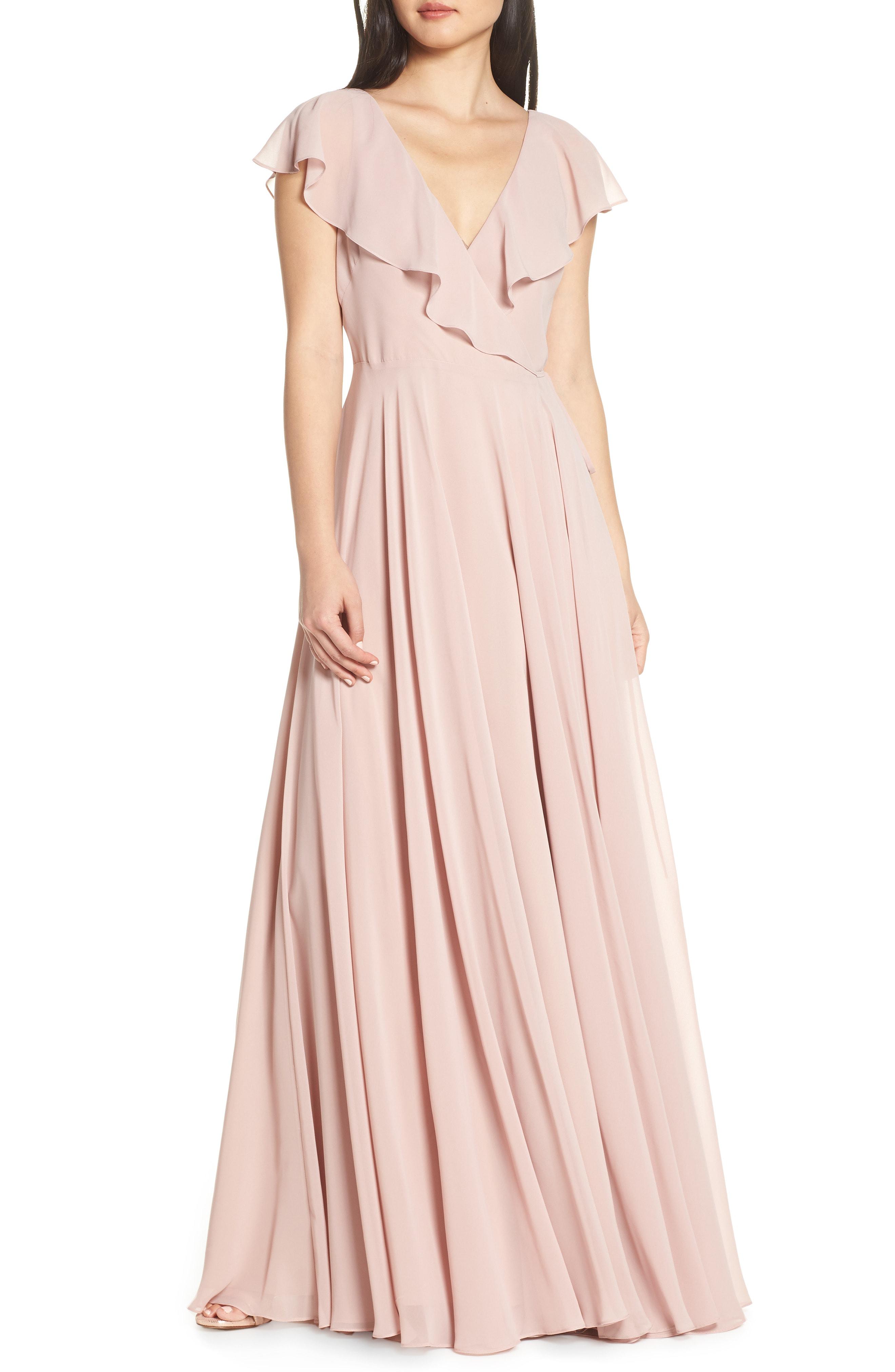 acaca196d9d09 Jenny Yoo Faye Ruffle Wrap Chiffon Evening Dress In Whipped Apricot ...