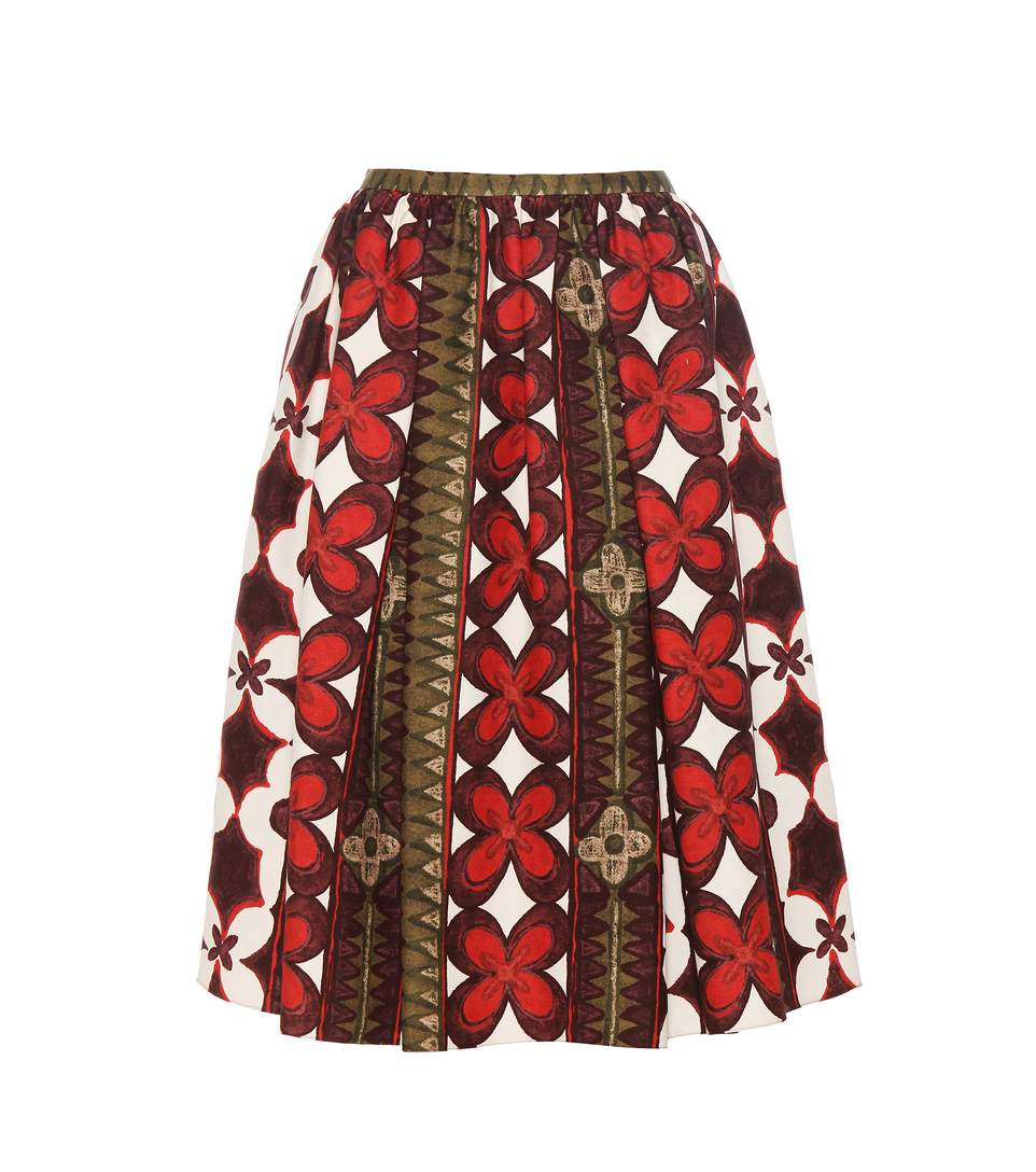 Valentino Wool And Silk Printed Skirt In Multicoloured