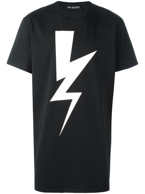 Neil Barrett Lightning Bolt Print T-shirt In Black