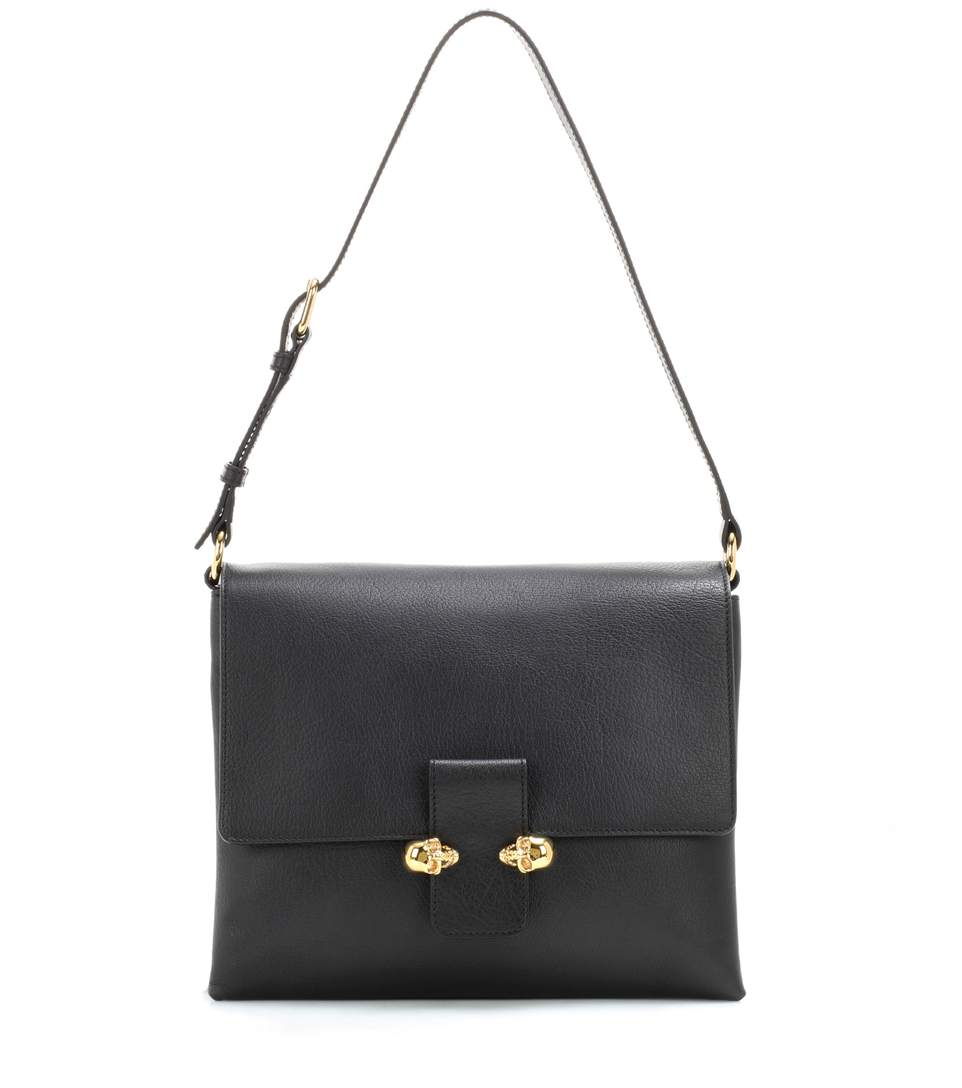 Alexander Mcqueen Twin Skull Small Leather Crossbody In Black