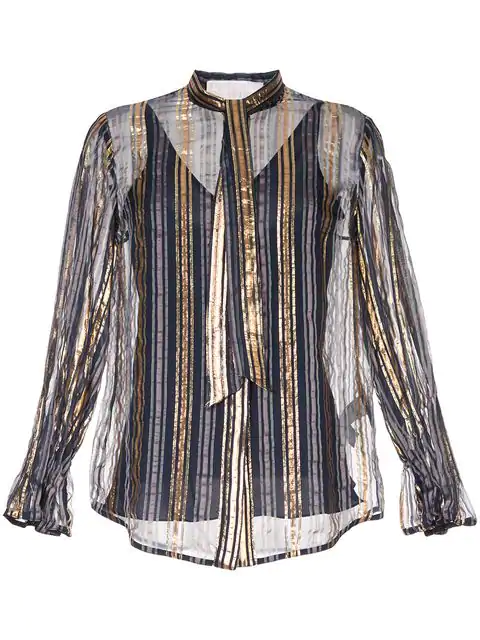 Peter Pilotto Striped Metallic Silk-blend Chiffon Blouse In Gold/navy