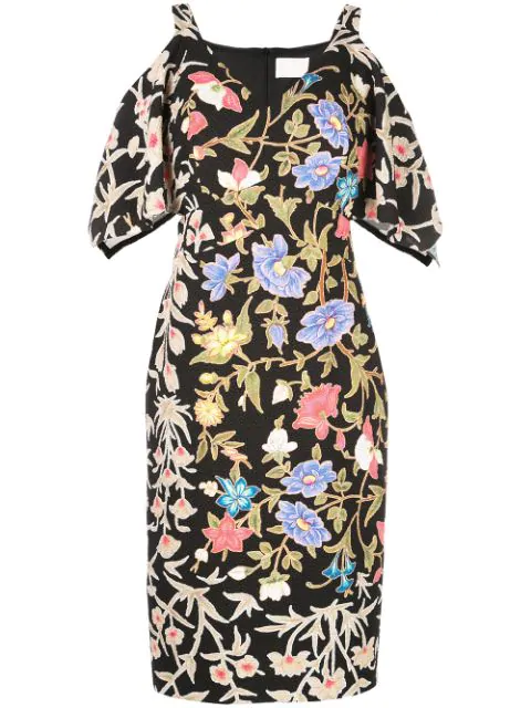 Peter Pilotto Floral And Foliage-print Crepe Midi Dress In Black
