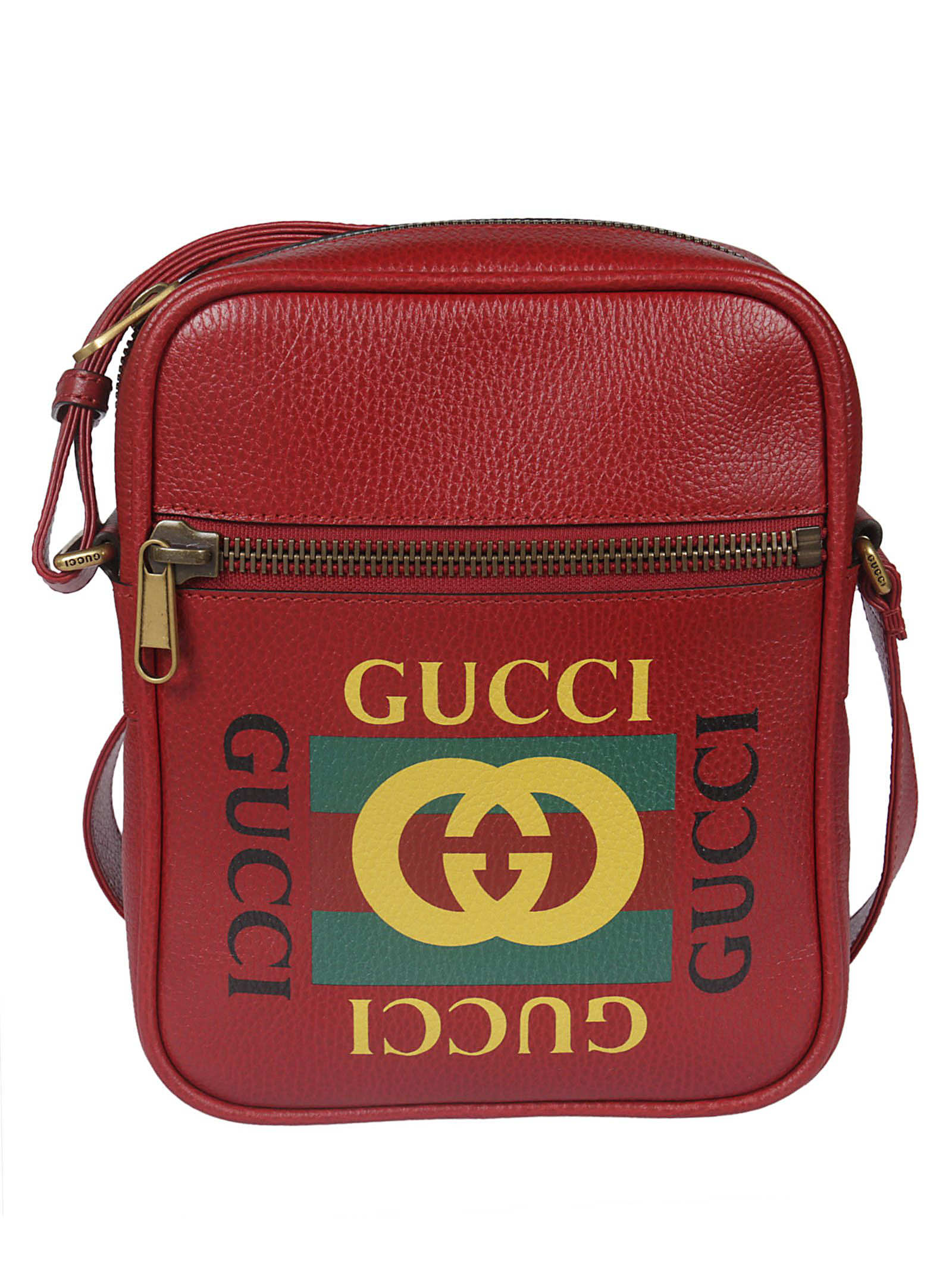 5dc2b7770b5f5f Gucci Logo Print Shoulder Bag In Red | ModeSens