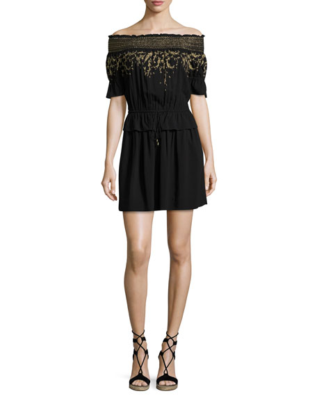 Rachel Zoe Bethany Embroidered Off-the-shoulder Dress, Black