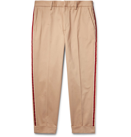 Gucci Tapered Cropped Webbing-trimmed Cotton-twill Chinos In Oatmeal