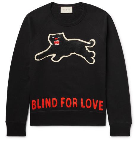 Gucci AppliquÉd Loopback Cotton-jersey Sweatshirt In Nero Lavato