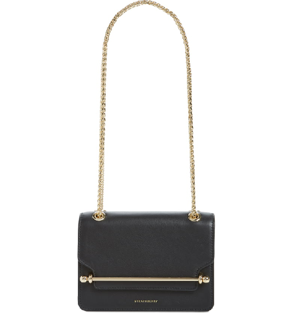 Strathberry Mini East/west Leather Crossbody Bag In Black