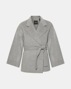 cefb8e6179b Theory Wool & Cashmere Belted Jacket In Medium Gray Melange | ModeSens